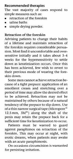 Retraction of the foreskin